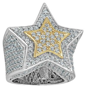 Harlembling Men's Hip Hop 3D STAR Solid 925 Silver 5ct Diamond Pinky RING 14k Gold