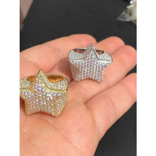 Harlembling Men's Hip Hop 3D STAR Solid 925 Silver 5ct Diamond Pinky RING 14k Gold Image 1
