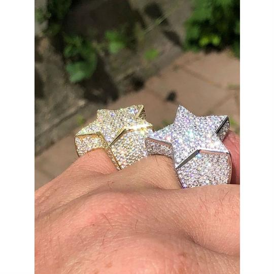 Harlembling Men's Hip Hop 3D STAR Solid 925 Silver 5ct Diamond Pinky RING 14k Gold Image 2