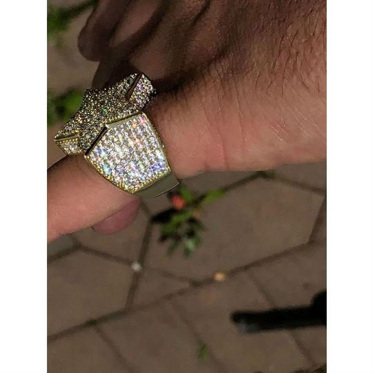 Harlembling Men's Hip Hop 3D STAR Solid 925 Silver 5ct Diamond Pinky RING 14k Gold Image 4
