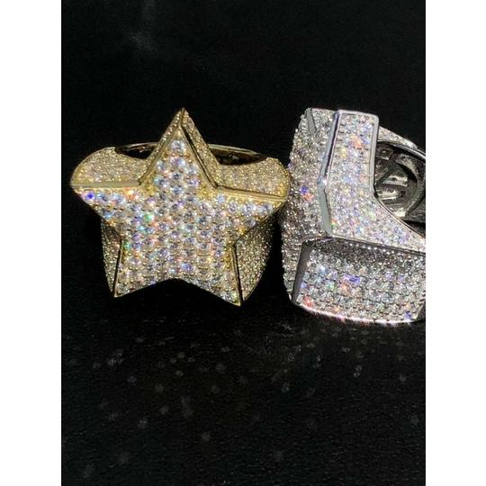 Harlembling Men's Hip Hop 3D STAR Solid 925 Silver 5ct Diamond Pinky RING 14k Gold Image 5