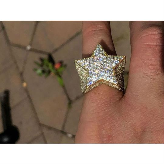 Harlembling Men's Hip Hop 3D STAR Solid 925 Silver 5ct Diamond Pinky RING 14k Gold Image 7