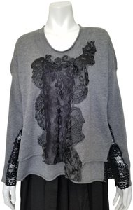 Robert Rodriguez Embellished Lace Trim Double Layered Knit Sweater