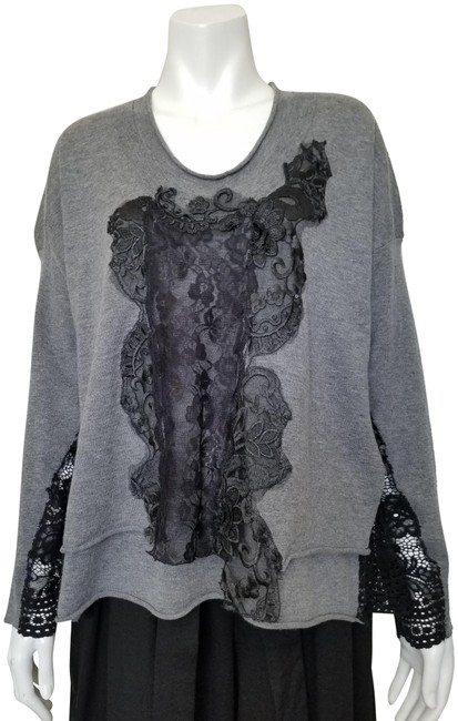 Preload https://img-static.tradesy.com/item/24899503/robert-rodriguez-02198-embellished-laces-double-layered-knit-gray-sweater-0-1-650-650.jpg