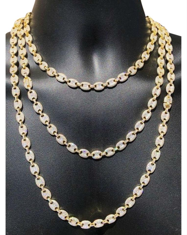 Gucci Link Chain >> Men S Mariner Gucci Link Chain Icy Diamonds 14k Gold Over Solid 925