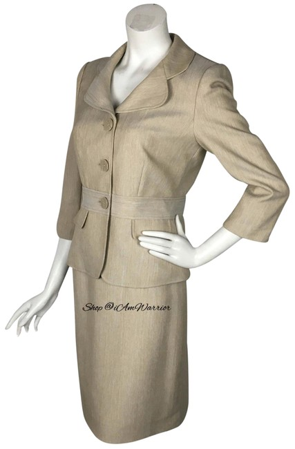 Item - Tan 3/4 Sleeve Jacket & Skirt Suit Size 6 (S)