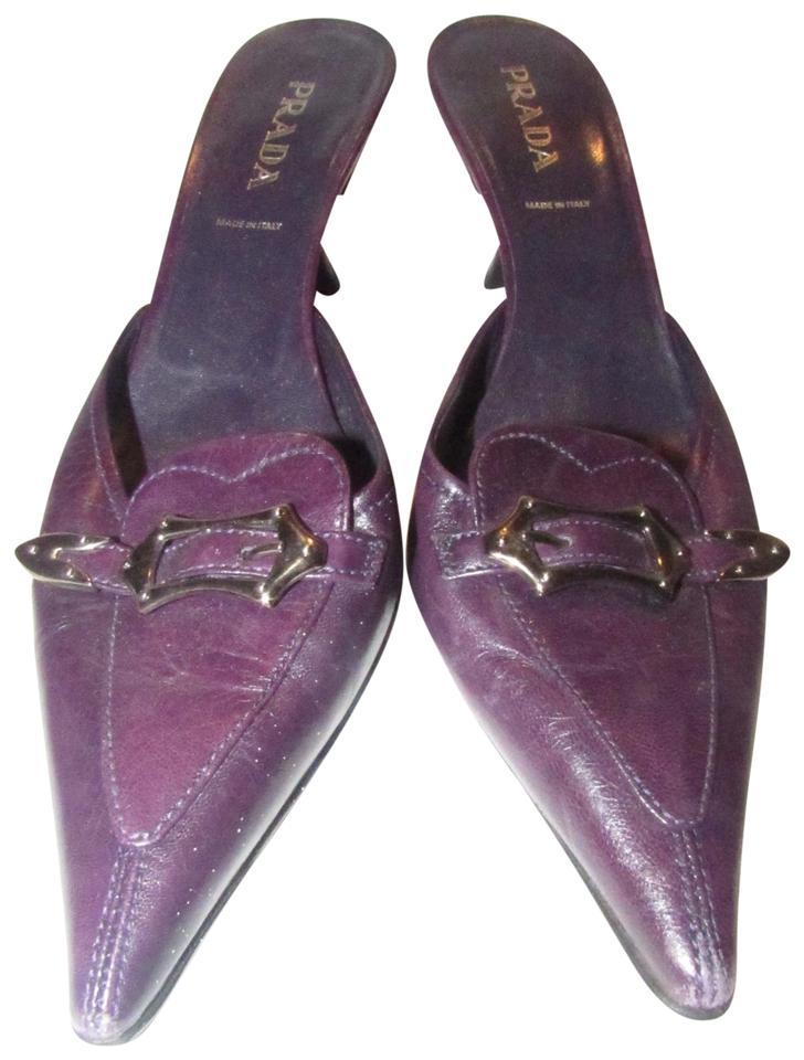 99605e8a29a Prada Purple Leather with A Chrome Buckle Style Kitten Heel Pumps Size US 7  Regular (M, B)