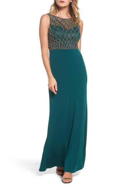 Item - Hunter Green Mermaid Gown Beaded Illusion Bodice Long Formal Dress Size 16 (XL, Plus 0x)