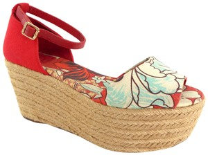 fd7d259cb122 Tory Burch Flower Mid Wedge Sherri Jute Sohojute Red Floral Sandals