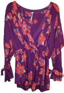 Free People Top Purple/pink/floral multi