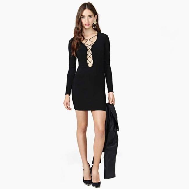 Nasty Gal Plunge Bodycon Dress Image 2
