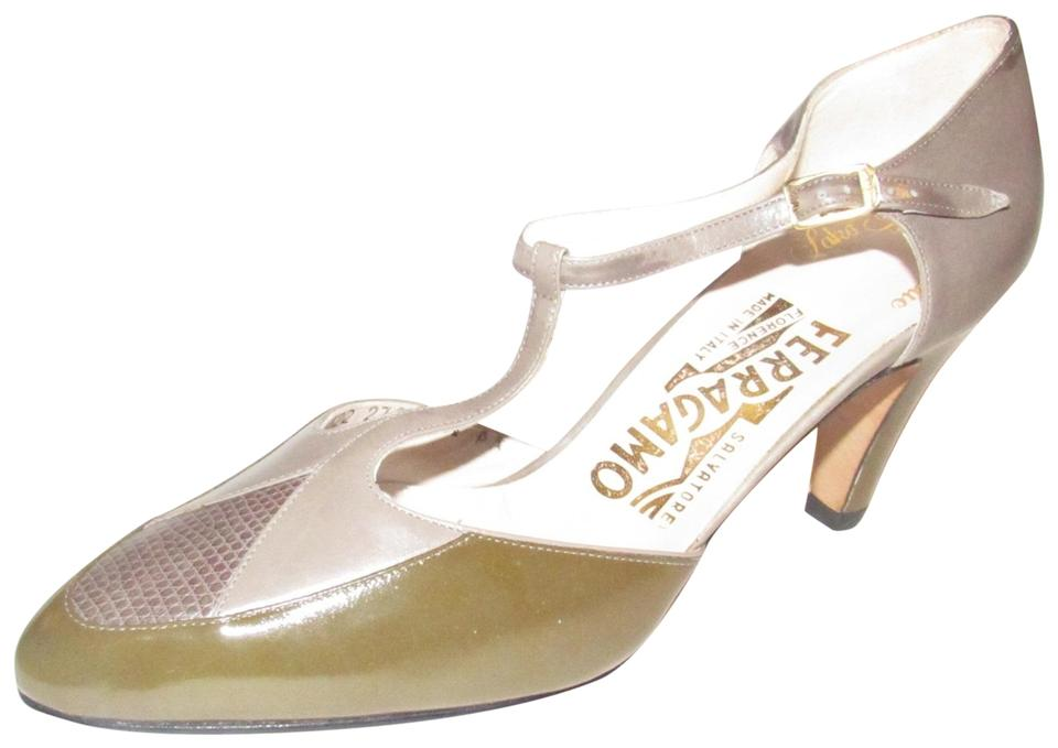 Salvatore Ferragamo Olive Green Grey and Brown Snakeskin Color Block  Leather Mary Jane Kitten Heels Pumps