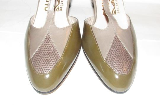 Salvatore Ferragamo 40's Rockabilly Look Mary Janes Olive/Grey/Brown Nwot/New Old Stock olive green, grey, and brown snakeskin color block leather Pumps Image 11