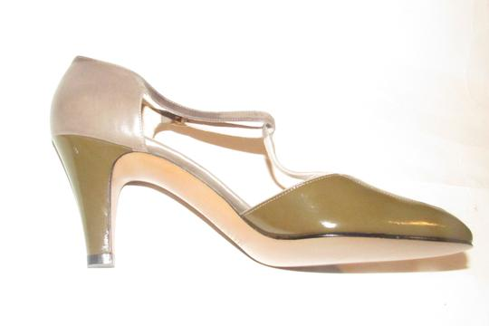 Salvatore Ferragamo 40's Rockabilly Look Mary Janes Olive/Grey/Brown Nwot/New Old Stock olive green, grey, and brown snakeskin color block leather Pumps Image 2