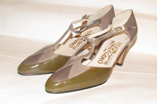 Salvatore Ferragamo 40's Rockabilly Look Mary Janes Olive/Grey/Brown Nwot/New Old Stock olive green, grey, and brown snakeskin color block leather Pumps Image 6