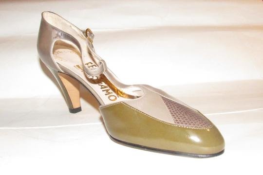 Salvatore Ferragamo 40's Rockabilly Look Mary Janes Olive/Grey/Brown Nwot/New Old Stock olive green, grey, and brown snakeskin color block leather Pumps Image 7