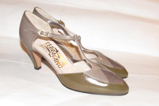 Salvatore Ferragamo 40's Rockabilly Look Mary Janes Olive/Grey/Brown Nwot/New Old Stock olive green, grey, and brown snakeskin color block leather Pumps Image 8