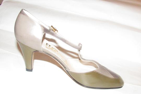 Salvatore Ferragamo 40's Rockabilly Look Mary Janes Olive/Grey/Brown Nwot/New Old Stock olive green, grey, and brown snakeskin color block leather Pumps Image 9