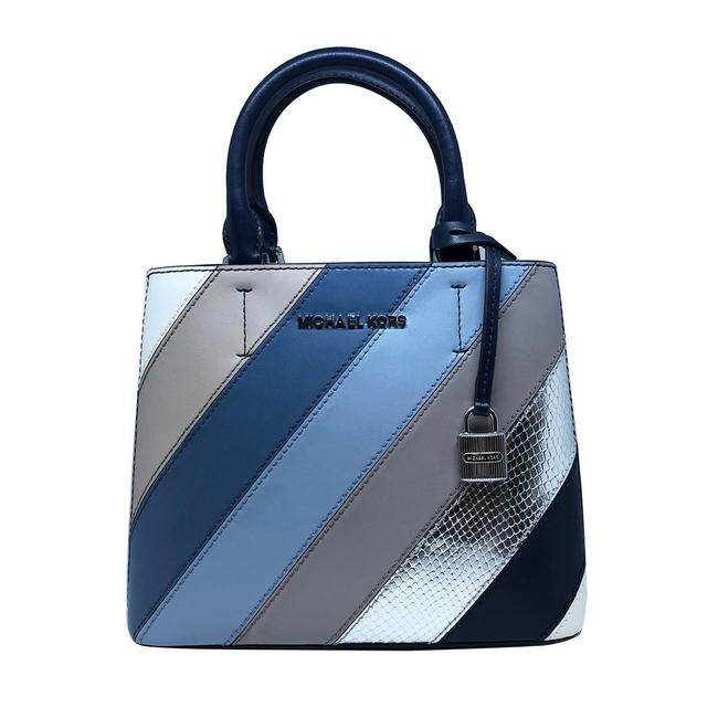 Item - Navy and Silver Leather Messenger Bag