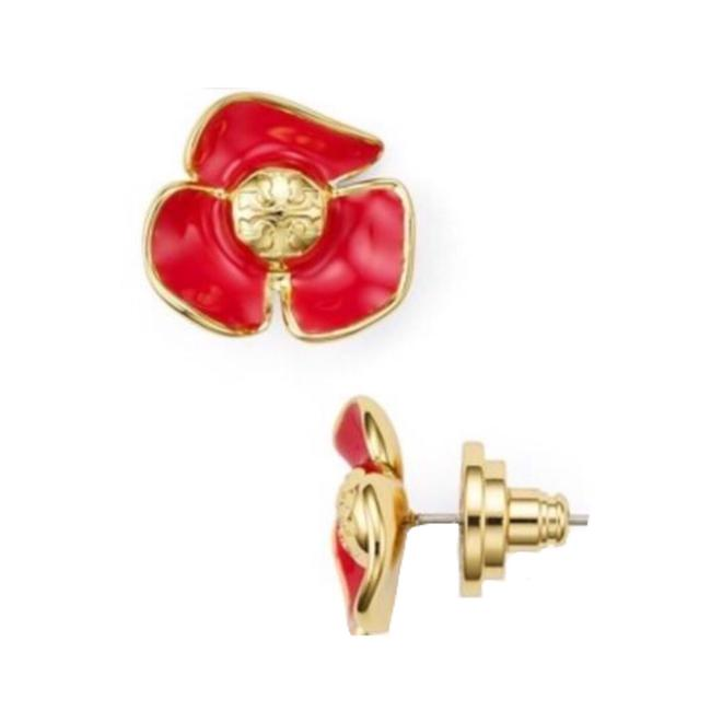 Item - Red Fleur Logo Flower Earrings