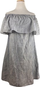J.Crew short dress Blue & White Off The Shoulder Draped Striped on Tradesy