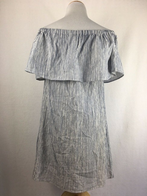 J.Crew short dress Blue & White Off The Shoulder Draped Striped on Tradesy Image 1