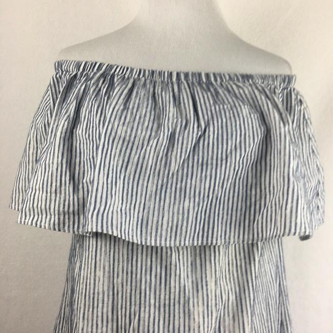 J.Crew short dress Blue & White Off The Shoulder Draped Striped on Tradesy Image 4