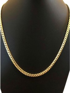 Harlembling Men's Miami Cuban Link Chain Real 14k Gold Over Solid 925 Silver ITALY