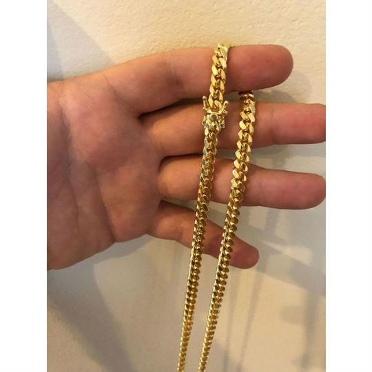 Harlembling Men's Miami Cuban Link Chain Real 14k Gold Over Solid 925 Silver ITALY Image 1