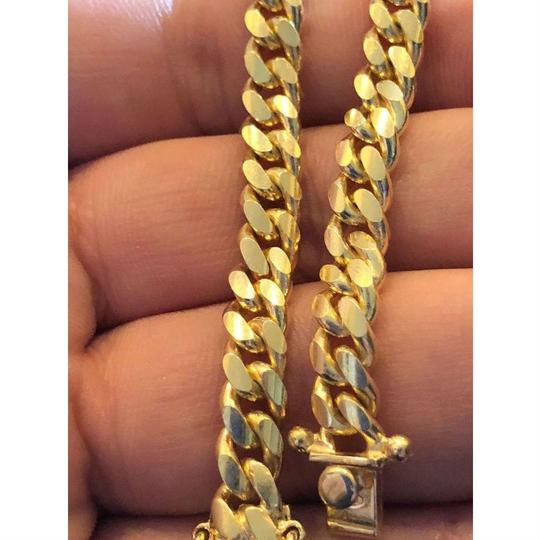 Harlembling Men's Miami Cuban Link Chain Real 14k Gold Over Solid 925 Silver ITALY Image 5