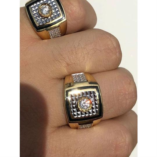 Harlembling Men's REAL 14K Gold & Solid 925 Silver Solitaire Black Onyx & CZ Image 1