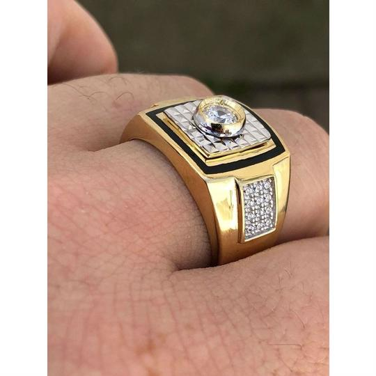Harlembling Men's REAL 14K Gold & Solid 925 Silver Solitaire Black Onyx & CZ Image 5
