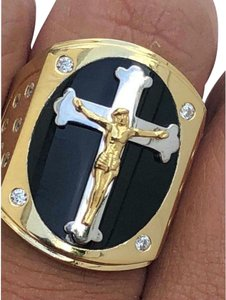 Harlembling Men's REAL 14k Yellow Gold Over Solid 925 Silver Jeses On Cross Ring