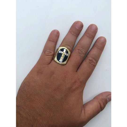 Harlembling Men's REAL 14k Yellow Gold Over Solid 925 Silver Jeses On Cross Ring Image 3