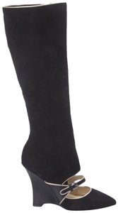 Adrienne Vittadini Mary Jane Suede Cut Out Wedge Black Boots