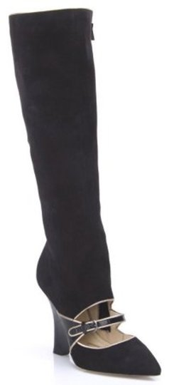 Adrienne Vittadini Mary Jane Suede Cut Out Wedge Black Boots Image 1
