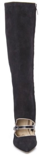 Adrienne Vittadini Mary Jane Suede Cut Out Wedge Black Boots Image 2