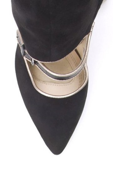 Adrienne Vittadini Mary Jane Suede Cut Out Wedge Black Boots Image 3