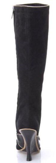 Adrienne Vittadini Mary Jane Suede Cut Out Wedge Black Boots Image 4