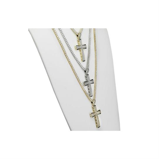 Harlembling Men's Real Solid 925 Silver Cross W. Tennis Chain Pendant Iced Out Hip Image 1