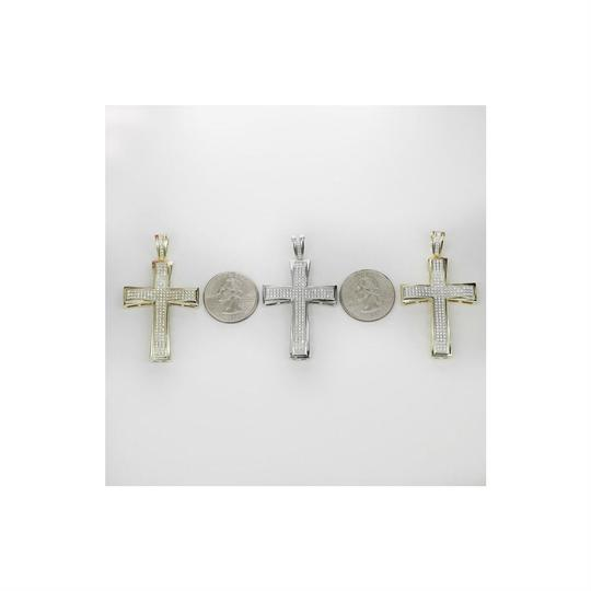Harlembling Men's Real Solid 925 Silver Cross W. Tennis Chain Pendant Iced Out Hip Image 3
