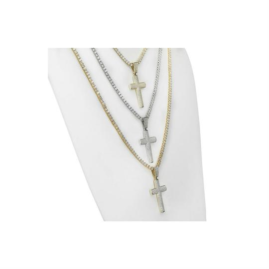 Harlembling Men's Real Solid 925 Silver Cross W. Tennis Chain Pendant Iced Out Lab Image 1
