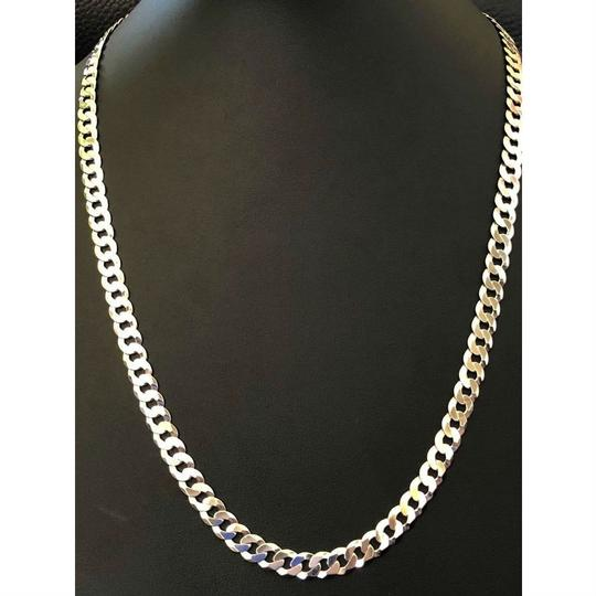Harlembling Men's Shiny 7mm Flat Curb Miami Cuban Chain Solid 925 Sterling Silver Image 1