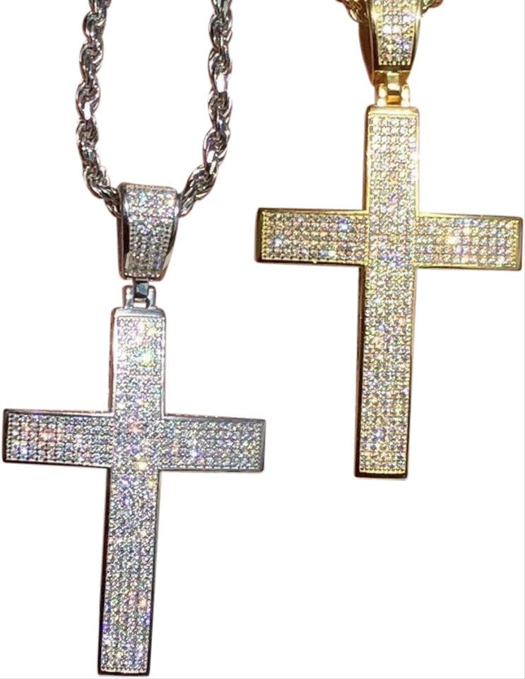 264e89bfe502a Men's Solid 925 Silver Cross Pendant Iced Out 3ct Diamond 14k Gold 58% off  retail