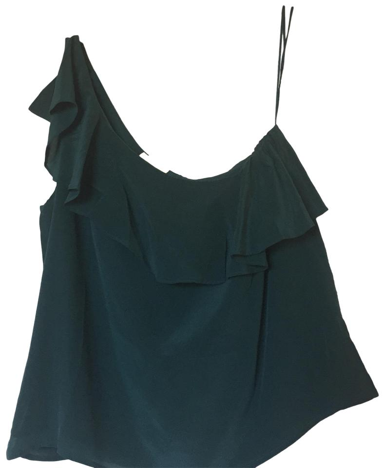663b49355355a Anthropologie Green Silk One Shoulder Ruffle Forest Blouse. Size  8 (M) ...