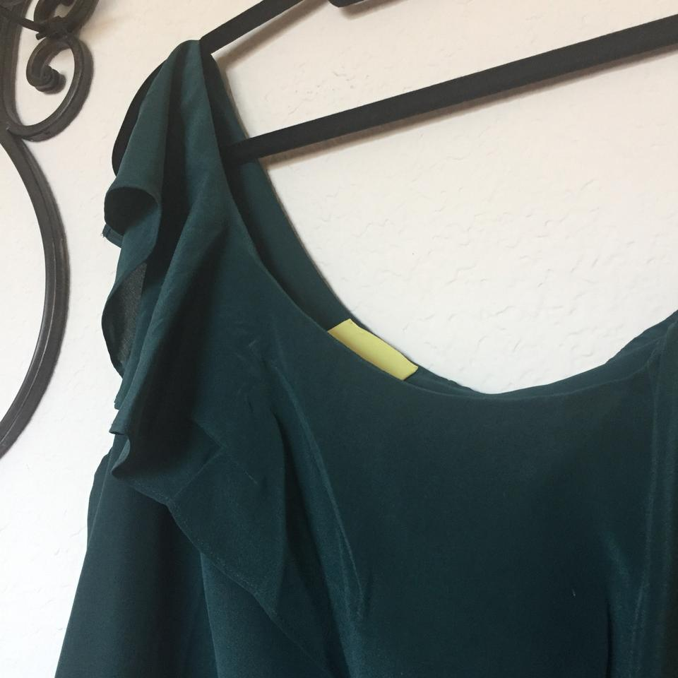 fa7f7b260fd7a Anthropologie Green Silk One Shoulder Ruffle Forest Blouse Size 8 (M) -  Tradesy