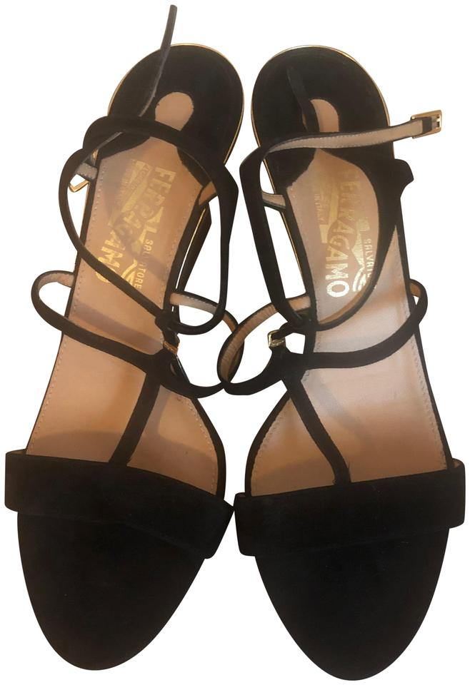 18c3863c0b68 Salvatore Ferragamo Black  pakuna  Sandals Wedges Size US 9.5 ...