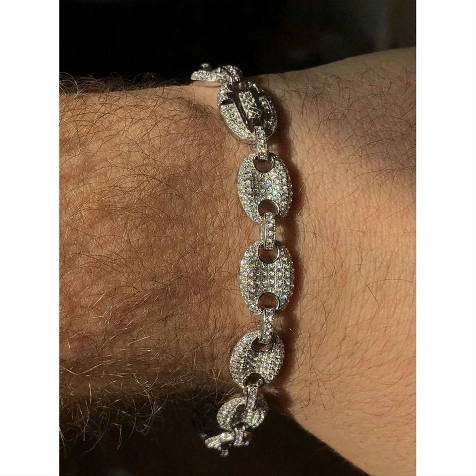 e15bf6bb2923b Harlembling Mens 10mm Puffed Gucci Link Bracelet Real Solid 925 Sterling  Silver Image 7. 12345678
