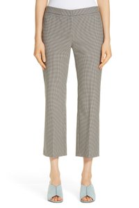 Nordstrom Houdstooth Checkered Wool Blent Office Flare Capri/Cropped Pants Brown