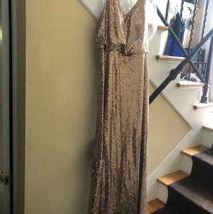 Dessy Gold Sequins Style 6784 Formal Bridesmaid/Mob Dress Size 16 (XL, Plus 0x)